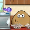 Pou is cleaning his house after hosting a big party. He finished most of 