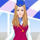 Dress this pretty air hostess in various outfits and accessories.