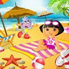 Play doras beach hangout game and decorate a beach scene for dora.