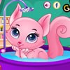 In this wonderful pet care game, you are going to meet a lovely kitty which is the princess in the kingdom of cats. As a princess, this kitty deserves special grooming and treatments. As a pet lover, you can exhibit your pet caring skills by bathing, grooming and accessorizing this adorable pet. First, give a nice shower in the bath tub, blow dry the fur and then comb the fur so that it looks clean and neat. Finally, accessorize the kitty as a princess. Prove that you care for pet animals in this animal care game! Have fun!