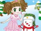 A princess is with a snowman and want to play with him. Dress both of them for