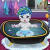 It is bath time for the cutie in this baby monster bathing 