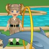 Baby Emma is going to the zoo today! She will be helping out Carol. First you must do some preparations: dressup Emma with a lovely zookeeper outfit and help her to get all the material and food into the zoo jeep. Then you will head out to the hippo. He is dirty and you must help Emma to clean him. After that, you will go to the monkeys and feed them with banana because they are very hungry. Finally you must help Emma to assist in the dolphin show.