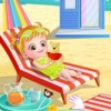 It is a bright summer day. Baby Hazel wants to chill on the beach. She is drea