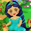 Baby princess Jasmine is a good gardener and she has a huge   garden with straw
