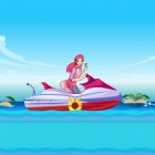 Glide through the sea and have fun water skiing with Barbie. Collect the gifts