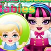 You can dress up Princess Cinderella and monster high's draculaura babies in th