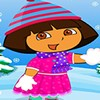 Dora and Boots wants to make this winter hot by playing at the winter. Dora wa