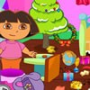 Our Christmas is coming,Dora and her mother will clean up their home ready for