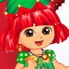Dora is ready for christmas and she wants to travel. Please dress up Dora for h