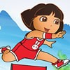 Dora ready for the 100m Hurdles final. She must run faster than other athletes.