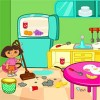Help Dora to clean her Kitchen and decorate it ...