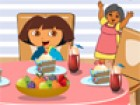 Help Dora to decorate her dining table with suitable things and dishes. Do you