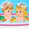 What can be more fun than giving a bath to a baby? I'll tell you, girls! A doub