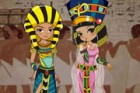 Dress up old Egyptian King and Queen with their traditional clothes, costumes.