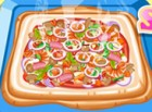 Decorate a yummy squared pizza for your friend and family and make it your own.