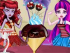 Draculaura and operetta characters in Monster High. Prepare a delicious ice cre
