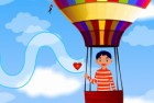 A nice young couple is in love but they are in seperate balloons. Bring the hea