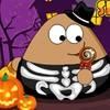 Play some games with Pou on boring Halloween night. Make a Jack-O-Lantern, cat