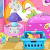 Our cute princesses needs cleaning and ironing. First clean up princess room. A