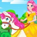 Dress this pretty princess and her horse in cla...