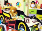 Find all of the hidden objects around the race car themed bedroom. Featuring mu