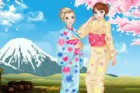 These two sisters are visiting Japan and want to try the traditional dress of k