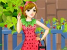 Haidee loves strawberry and has many clothes of this color and design. Dress th