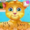 The cute kitty will need some attention in this talking ginger paw caring game