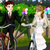 The newlyweds are biking their way out of the church. they look fashionable and