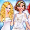 Elsa invited Ariel, Rapunzel, and Cinderella to is goint to have a white party.
