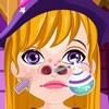 Hit the play button of the 'Witch Nose Doctor' game, meet your patient and,